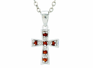Silver Plated January Birthstone Flare Cross Pendant On 16 Inch Stainless Steel Chain