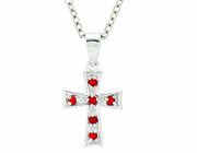 Silver Plated July Birthstone Flare Cross Pendant On 16 Inch Stainless Steel Chain