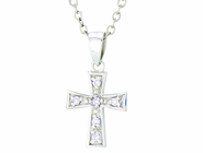 Silver Plated June Birthstone Flare Cross Pendant On 16 Inch Stainless Steel Chain