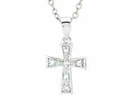 Silver Plated March Birthstone Flare Cross Pendant On 16 Inch Stainless Steel Chain