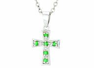 Silver Plated May Birthstone Flare Cross Pendant On 16 Inch Stainless Steel Chain