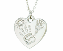 Silver Plated Mommy And Me April Birthstone Heart Pendant On 18 Inch Stainless Steel Chain