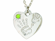 Silver Plated Mommy And Me Auguest Birthstone Heart Pendant On 18 Inch Stainless Steel Chain