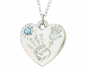 Silver Plated Mommy And Me December Birthstone Heart Pendant On 18 Inch Stainless Steel Chain