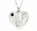 Silver Plated Mommy And Me January Birthstone Heart Pendant On 18 Inch Stainless Steel Chain