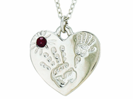 Silver Plated Mommy And Me July Birthstone Heart Pendant On 18 Inch Stainless Steel Chain