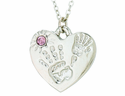 Silver Plated Mommy And Me June Birthstone Heart Pendant On 18 Inch Stainless Steel Chain