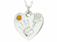 Silver Plated Mommy And Me November Birthstone Heart Pendant On 18 Inch Stainless Steel Chain