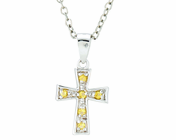 Silver Plated November Birthstone Flare Cross Pendant On 16 Inch Stainless Steel Chain