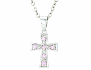 Silver Plated October Birthstone Flare Cross Pendant On 16 Inch Stainless Steel Chain