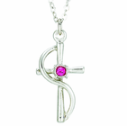 Silver Plated Cross Wire With Rose Colored CZ Crystal Stone Pendant On 18 Inch Stainless Steel Chain