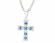 Silver Plated September Birthstone Flare Cross Pendant On 16 Inch Stainless Steel Chain