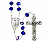 Small Cut Blue Crystal Bead Rosary With Silver Crucifix