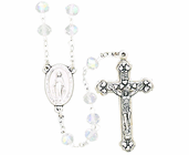 Small Cut Crystal Bead Rosary With Silver Crucifix