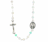 Small Facetted Crystal Rosary Necklace With Silver Crucifix