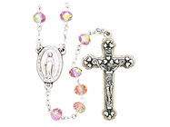 Small Facetted Rose Bead Rosary With Silver Crucifix