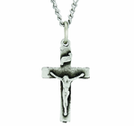 Small Sterling Silver Crucifix On 18 Inch Stainless Steel Chain