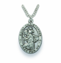Saint Christopher 1 inch Patron of Travelers, Nickel Silver Engraved Medal on 24 inch Chain