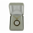 14K Gold Over Sterling SIlver St. Christopher round black border on 24 inch chain