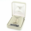 """St. Maria, Patron of Purity, Sterling Silver Engraved Round Medal on 18"""" Chain"""