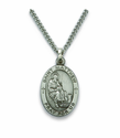 "St. Matthew, Patron of Accountants, Bankers, Sterling Silver Engraved Medal on 24"" Chain"