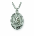 Saint Michael 1 inch patron  of Police Officers And Protector of Our Military Forces, Nickel Silver Engraved Medal on 24 inch Chain
