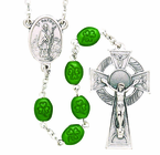 St. Patrick Irish Oval Shamrock Bead Rosary With Silver Crucifix