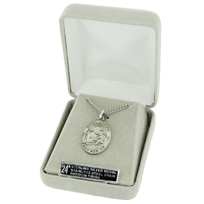 St peregrine patron of cancer sterling silver engraved medal on delivered in a velour jewelry gift box medal size 78 length chain size 24 length stainless steel rhodium finish chain mozeypictures Gallery