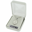 "St. Sebastian, Patron of Athletes, Sterling Silver Engraved Medal on 24"" Chain"