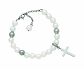 Stainless Steel Bead Bracelet With Silver Cross