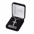 Stainless Steel  Cross Necklace in a Black Polish Design with Silver Polished Edges