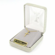 "Sterling Silver 14K Gold Finish Cross Necklace in a Stick Style Design on 16"" Chain"