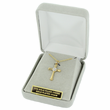 "Sterling Silver 14K Gold Finish Cross Necklace with Diamond-Like CZ Stone on 16"" Chain"