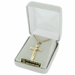 "Sterling Silver 14K Gold Finish Crucifix Necklace in a Bevelled Design on 18"" Chain"