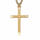 "Sterling Silver 14K Gold Finish Men's Cross With Polished Ends & Brushed Finish On 24"" Chain"
