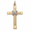"""Sterling Silver 14K Gold Finish Men's Cross With Rope Center on 24"""" Chain"""