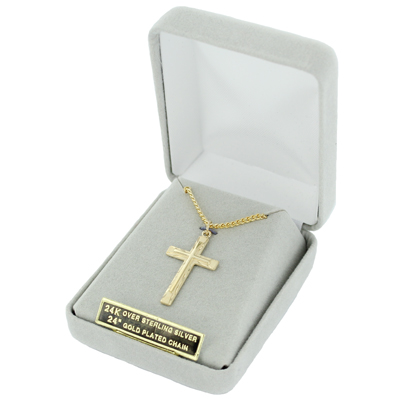 Sterling silver 14k gold finish mens engraved sunburst design cross cross size 1 18 length chain size 24 14k gold finish chain with a lobster claw clasp for a secure closure delivered in a velour gift box mozeypictures Image collections