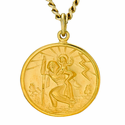 Sterling Silver 14K Gold Finish Round St. Christopher 5/8 Inch Medal on 18 Inch Chain