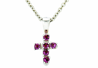 Sterling Silver Baby Amethyst CZ Crystal Cross Pendant On 13 Inch Stainless Steel Chain