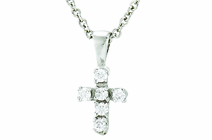 Sterling Silver Baby CZ Crystal Cross Pendant On 13 Inch Stainless Steel Chain