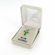"""Sterling Silver Birthstone August Peridot Baguette Cross Necklace on 16"""" Chain"""