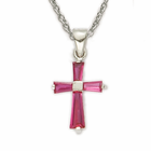 "Sterling Silver Birthstone July Ruby Baguette Cross Necklace on 16"" Chain"
