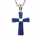 Sterling Silver Birthstone September Sapphire Baguette Cross Necklaces