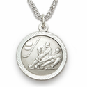 Sterling Silver Boy's Hockey Player Medal with Cross on Back
