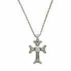 Sterling Silver Budded End CZ Center Stone Cross on 18 Inch Chain