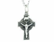 Sterling Silver Celtic Crucifix on 18 Inch Stainless Steel Chain