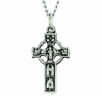 Sterling Silver Celtic Panel Cross On 24 Inch Stainless Steel Chain
