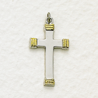 "Sterling Silver Cross Necklace in a 2-Tone Polished Finish and Rope Ends Design on 20"" Chain"
