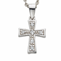 Sterling Silver Cross Necklace in a Flared Design with  CZ  Stones