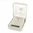 """Sterling Silver Cross Necklace in a Open Ended Design with Marcasite CZ Stones on 18"""" Chain"""
